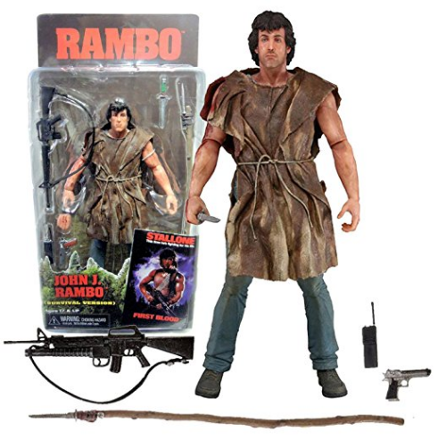 Amazon.com NECA Rambo First Blood Year 1982 Movie Series 7 Inch Tall Action Figure Survival Version JOHN J. RAMBO with Alternative Right Hand Spear Assault Rifle Gun Walkie Talkie