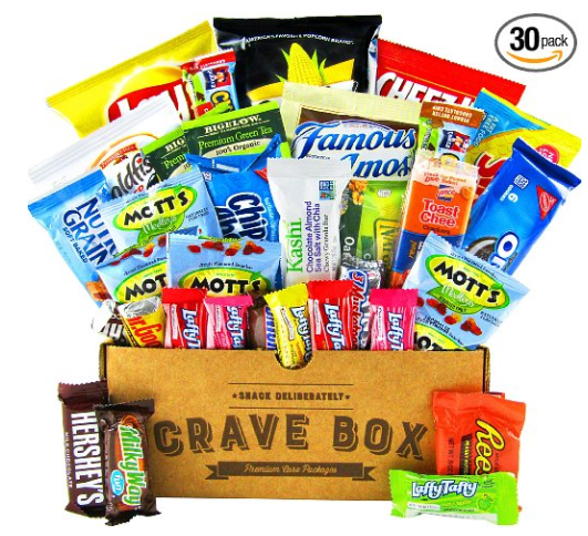 Amazon.com The Classic CraveBox 30 Count Variety Assortment Bundle of Snacks Candy Chips Chocolate Cookies Granola Bars and More Great Easter Gift Care Package Grocery