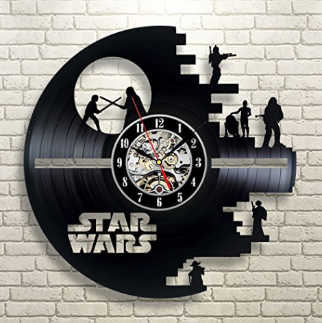 Amazon.com Vinyl Evolution Star Wars Death Star Darth Vader Princess Leia Master Yoda Movie Character Vinyl Record Design Wall Clock Home Kitchen
