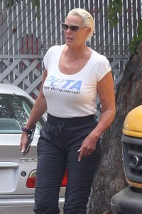 *EXCLUSIVE* Brigitte Nielsen and husband Mattia Dessi out for a scooter ride in Studio City